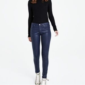 AG Navy Leatherette The Legging Ankle Jeans